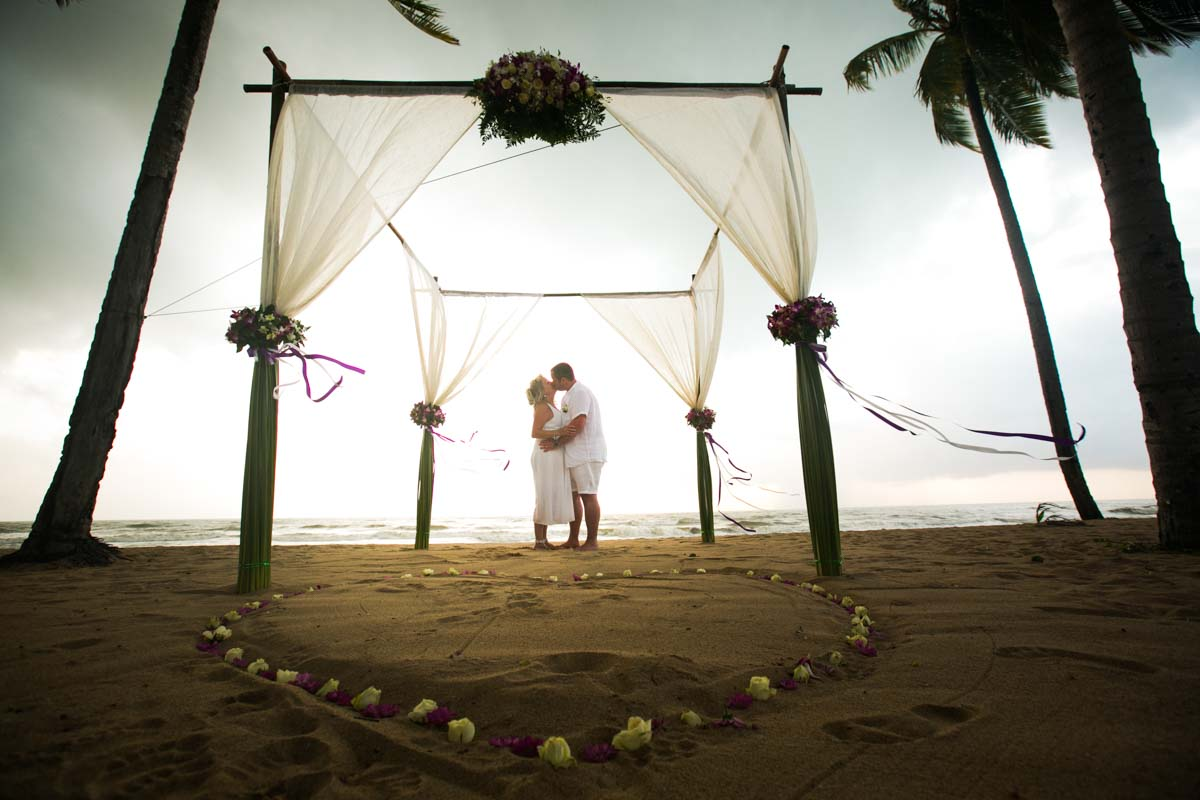 Justine and Adam Khao Lak beach renewal wedding photography