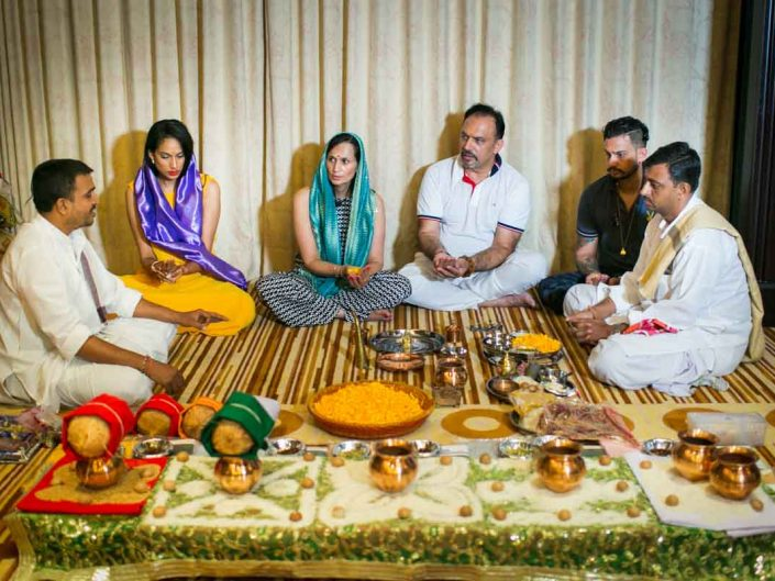 Pooja ceremony for Jessica and Kris Indian wedding in Phuket Thailand