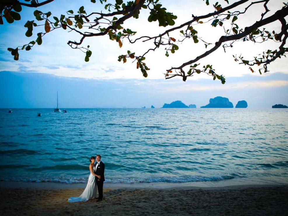 Kim with Aron beach wedding at Rayavadee Krabi Thailand