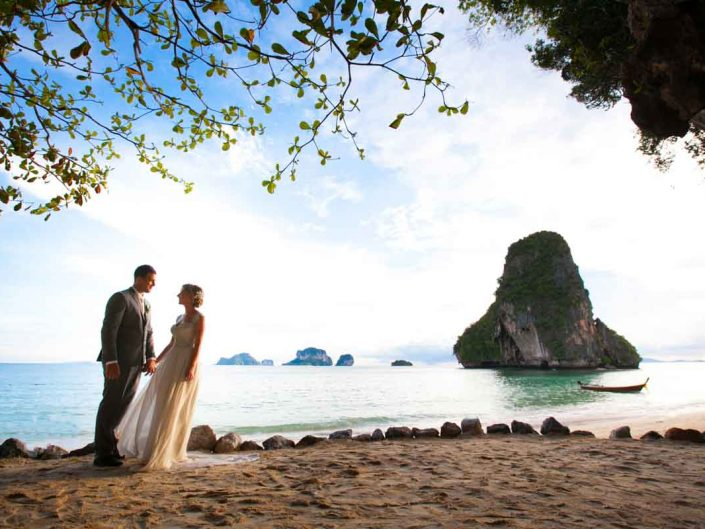 Samm and Daniel wedding photo session on Railay beac at Rayavadee Resort Thailand.