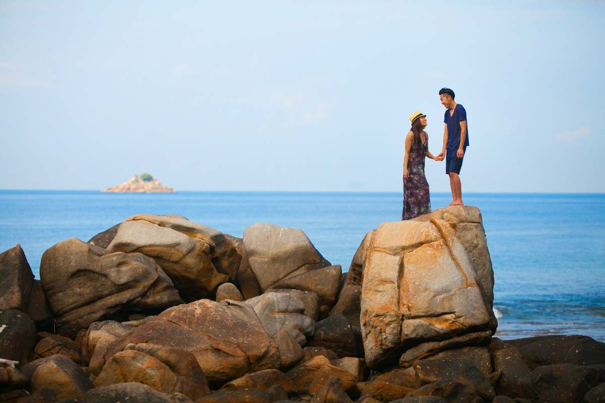 Julie and Larry engagement photo session in Phuket Thailand one day before there wedding comming