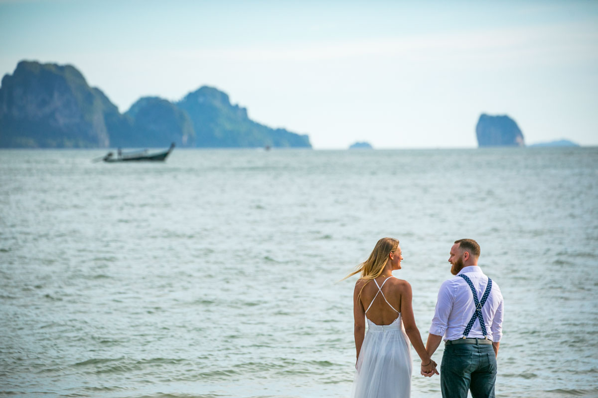 Mike with Justine from USA come to Thailand for honeymoon photography with elephant and beauiful spot Krabi Thailand.