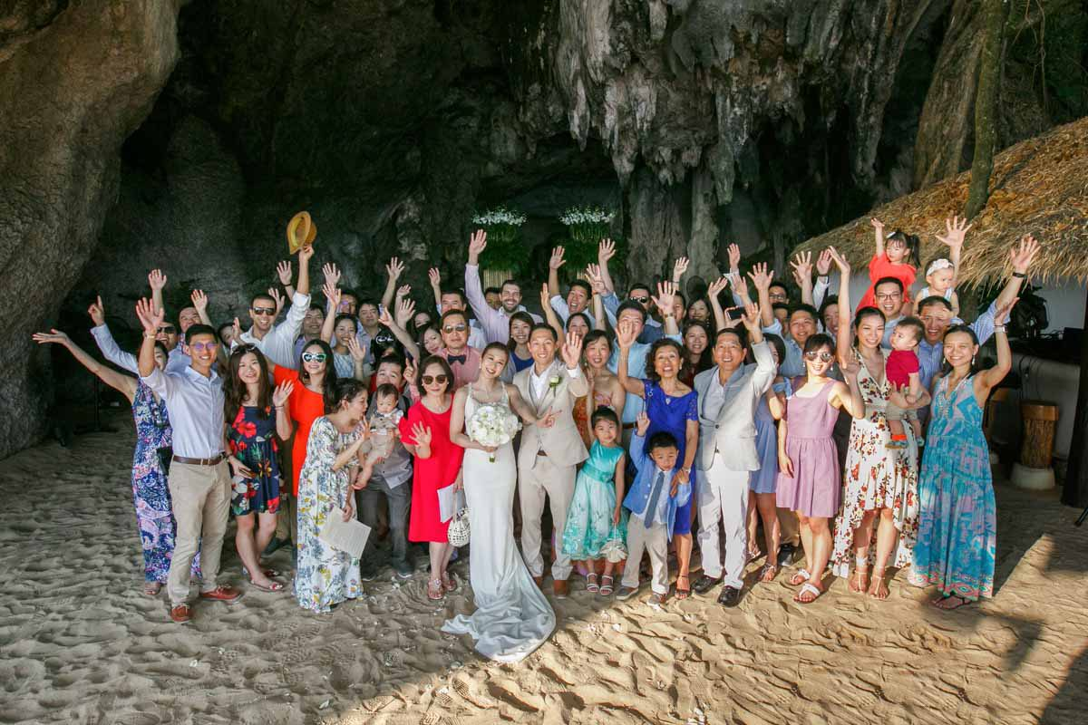 Group Wedding photo session of Tina and Charlie in Rayavadee Krabi